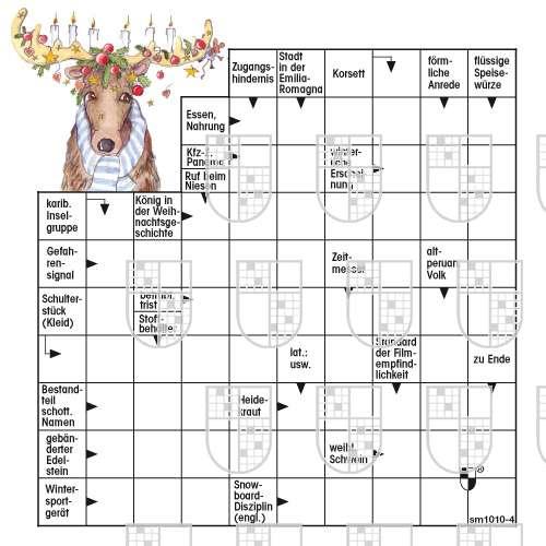 Weihnachtsrätsel mit Motiv Elch